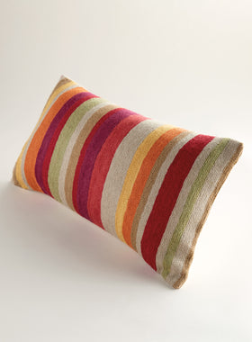 Kashmiri Crewel Pillow – Stripes
