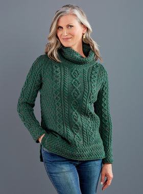 Irish Trellis Turtleneck Sweater