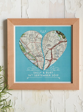Two Hearts Meet Personalized Framed Map