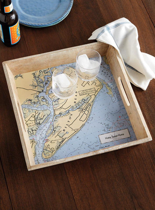 Custom Nautical Chart Wooden Tray