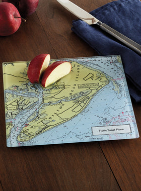 Custom Nautical Map Glass Cutting Board