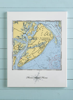 Custom Nautical Chart Canvas Print
