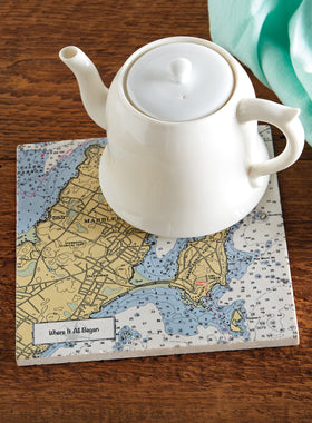 Custom Nautical Chart Marble Trivet