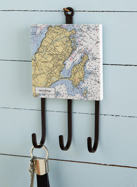 Custom Nautical Chart Marble Key Rack