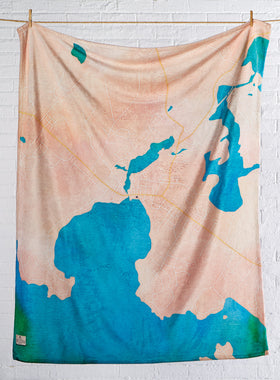 Custom Watercolor Map Fleece Throw