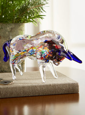 Millefiori Glass Bull Sculpture
