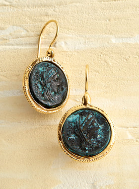 Bronze Caesar Coin Earrings
