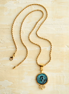 Bronze Caesar Coin Necklace