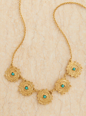 Etruscan Sun Gold and Turquoise Necklace