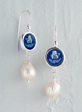 Italian Angel Cameo Pearl Drop Earrings