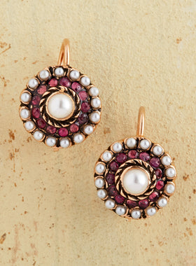 Rose Gold Garnet Button Earrings