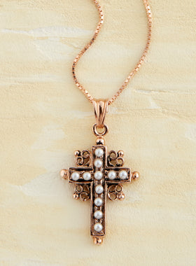 Rose Gold Italian Pearl Cross Necklace