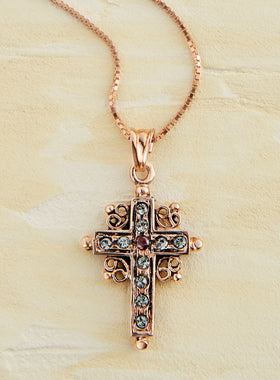 Rose Gold Italian Garnet and Crystal Cross Necklace