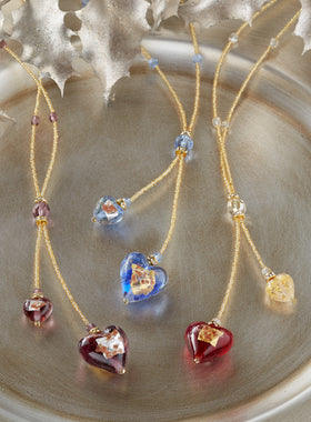 Two of Hearts Venetian Glass Necklace