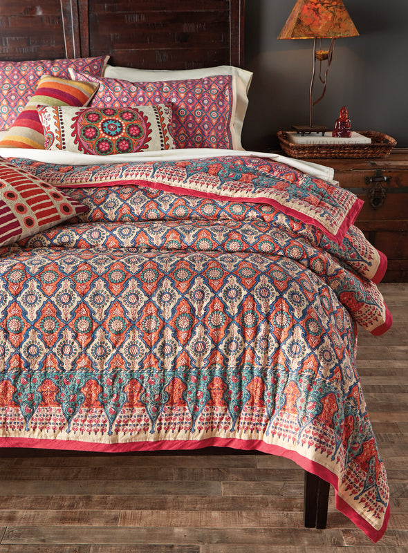 Lotus Blossom Block-print Quilt - King