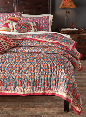 Lotus Blossom Block-print Bedding