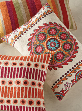 Kashmiri Crewel Throw Pillows