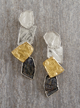 Tri-tone Flagstone Earrings
