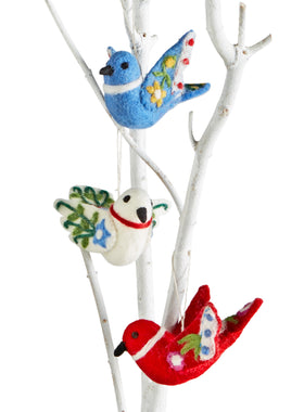Lovebird Felted Ornaments - Set of 3