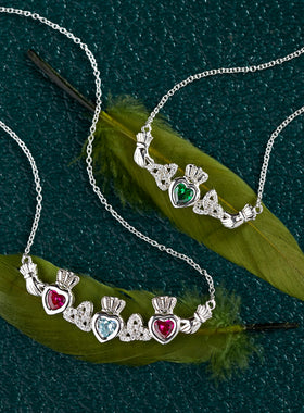 Custom Family Birthstone Claddagh Necklace