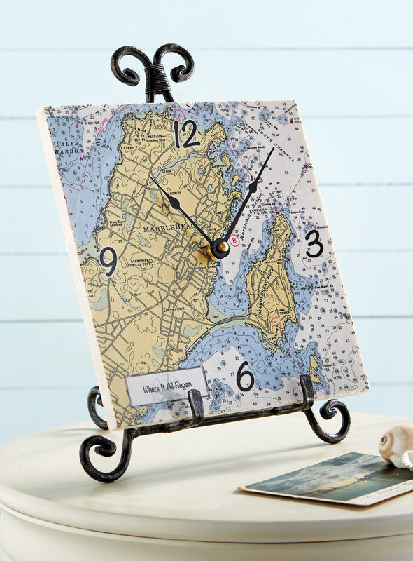 Custom Nautical Chart Marble Clock with free Display Easel