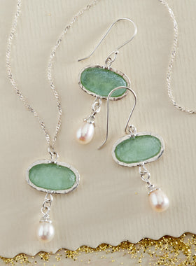 Aqua Roman Glass and Pearl Jewelry