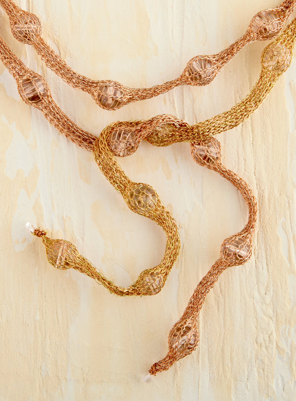 Copper and Silk Serpent Necklace