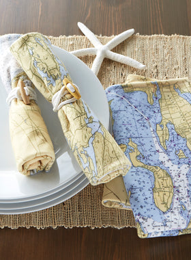 Custom Nautical Chart Napkins - Set of 2