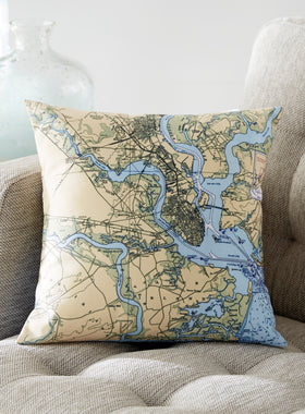 Custom Nautical Chart Pillow