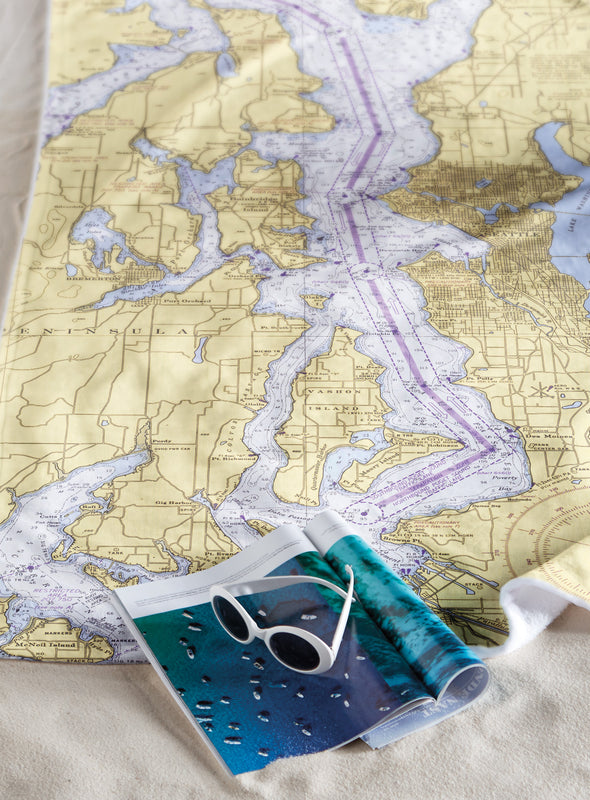 Custom Nautical Chart Beach Towel