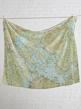 Custom Topographical Map Fleece Throw