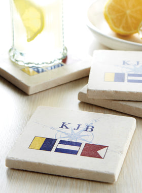 Personalized Signal Flag Coasters - Set of 4