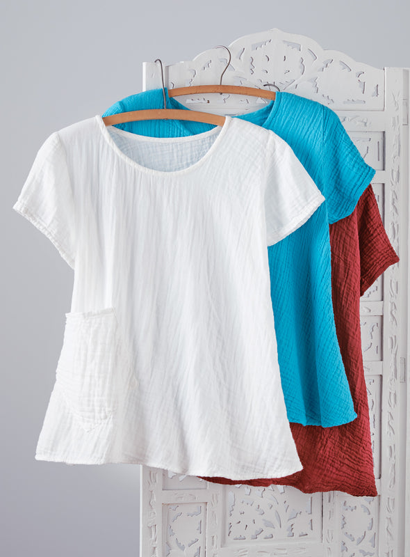 Crinkle Cotton Trapeze Tee