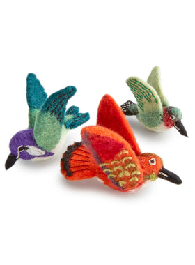 Hand-felted Hummingbird Ornaments - Set of 3