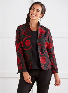 Fan Flower Silk Jacket