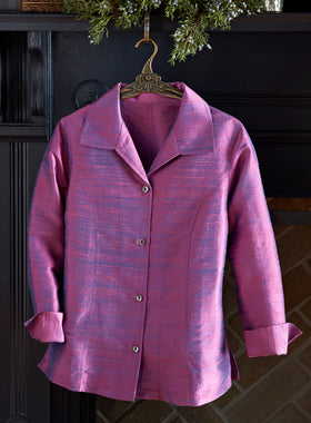 Iridescent Silk Shirt Jacket