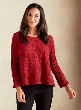 Crinkle Cotton Long-sleeve Trapeze Tee