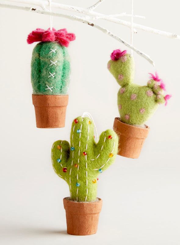 Hand-Felted Cactus Ornaments