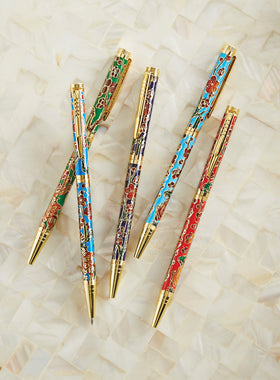 Floral Cloisonné Pens - Set of 5