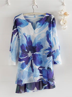 Cobalt Blooms High-Low Tunic