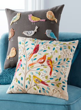 Indian Songbird Embroidered Throw Pillows