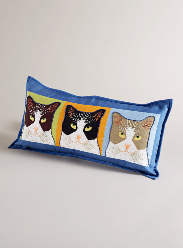 Three's a Crowd Throw Pillow-Blue