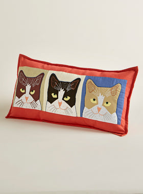 Three's a Crowd Throw Pillow-Red
