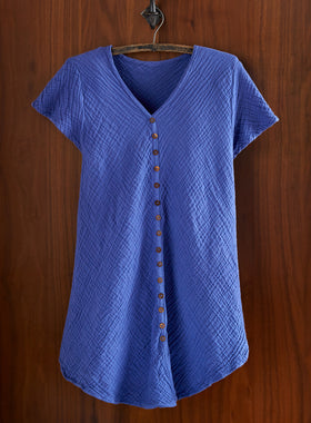Crinkle Cotton Button-Front Blouse