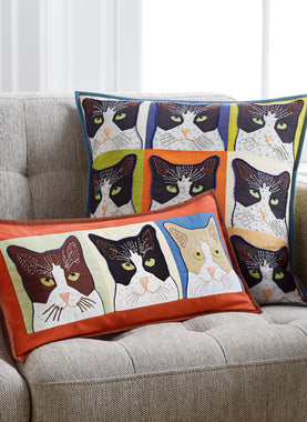 Cat's Meow Embroidered Pillows