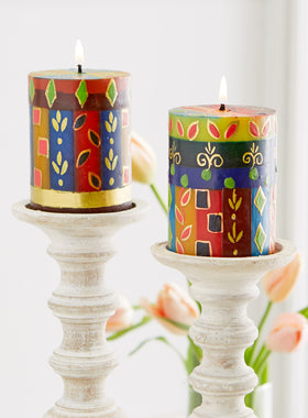 Golden Glow Hand-painted Pillar Candles
