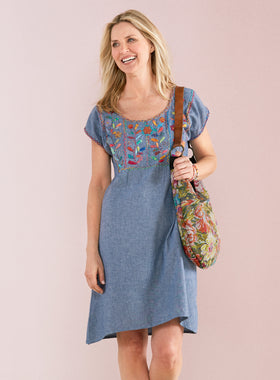 Blooming Vine Chambray Shift