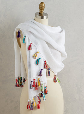 Color Burst Tassel Wrap