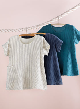 Crinkle Cotton Striped Trapeze Tee
