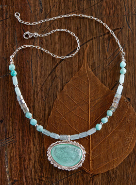 Roman Glass Silver Ripple Necklace